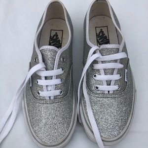 Vans silver shimmering sneakers size 7.5 EUC